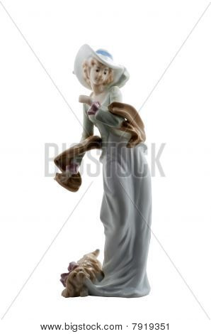 Porcelain Figurine Lady With Lapdog