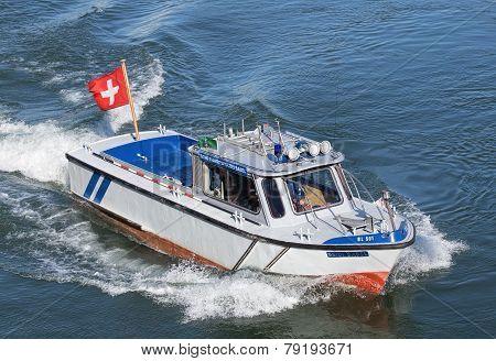 Police Boat On Rhine In Basel