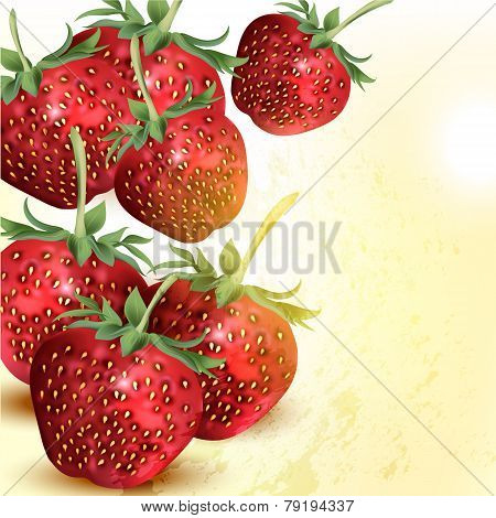 Grunge Vector Background With Realistic Strawberry