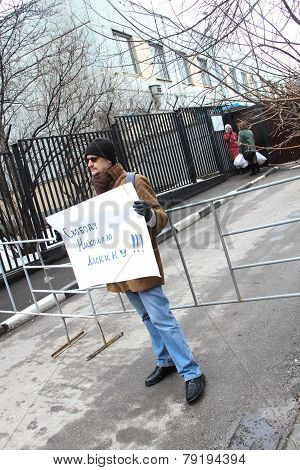 The Political Activist With The Poster Freedom To Nikolay Lyaskin Near Prison Where It Contains