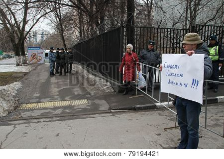 Politician Mikhail Velmakin On Picket Near Prison Where The Arrested Politician Nikolay Lyaskin