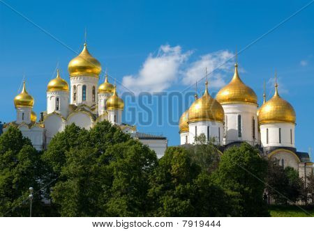 Moscow. Panorama Of Two Temples