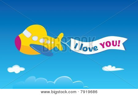 Yellow Airplane. Vector Airplane