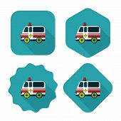 picture of ambulance car  - Ambulance Car Flat Icon With Long Shadow - JPG