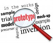 picture of step-up  - Prototype word under a magnifying glass searching for mock - JPG