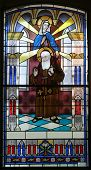 stock photo of leopold  - Stained glass with Saint Leopold Mandic - JPG