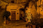 image of sassy  - Sassi houses of Matera at night - JPG