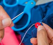 pic of tailoring  - Sewing Button Showing Tailoring Fasten And Tailor - JPG