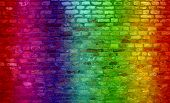 foto of graffiti  - Concept or conceptual colorful painted or graffiti old vintage grungy brick wall texture or urban background - JPG