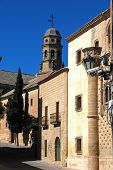 picture of baeza  - Jabalquinto palace with the Cathedral bell tower to the rear Baeza Jaen Province Andalusia Spain Western Europe - JPG