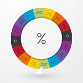 picture of color wheel  - color wheel of fortune with arrow indicators and percent - JPG