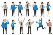 picture of cartoon people  - Set of business people in various poses action and characters man woman office person senior and junior personnel - JPG