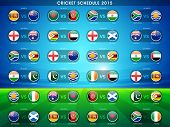 picture of cricket  - Cricket match 2015 schedule with countries flags on blue and green background - JPG