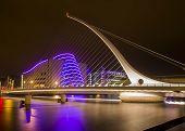 pic of bridges  - The cables of the Samuel Beckett Bridge soar overhead in Dublin Ireland - JPG