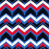 stock photo of zigzag  - Multicolor hand drawn pattern with brushed zigzag lines - JPG