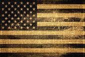 stock photo of impressionist  - Vintage American Flag Burlap Linen Rustic Jute - JPG