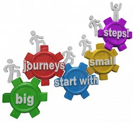 stock photo of climb up  - Big Journeys Start With Small Steps 3d words on gears and people marching or climbing up to achieve success in job - JPG