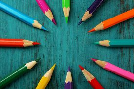 picture of pencils  - Colorful pencils on color wooden background - JPG