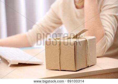 Cardboard box on work place