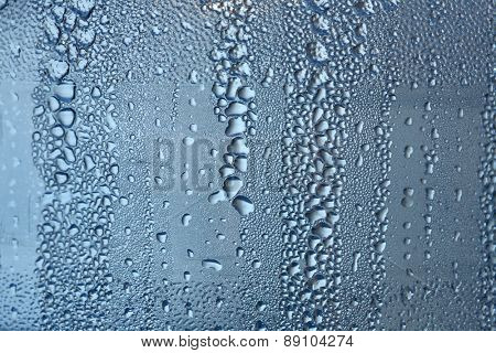 Water drops on window - close up