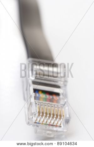 Network cable on white background