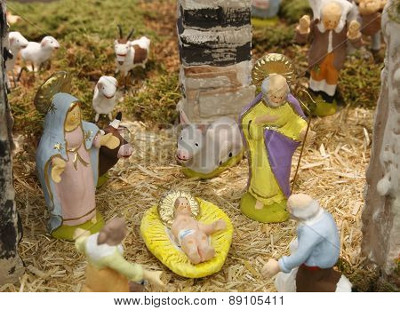 nativity scene in a tipical ligurian crib