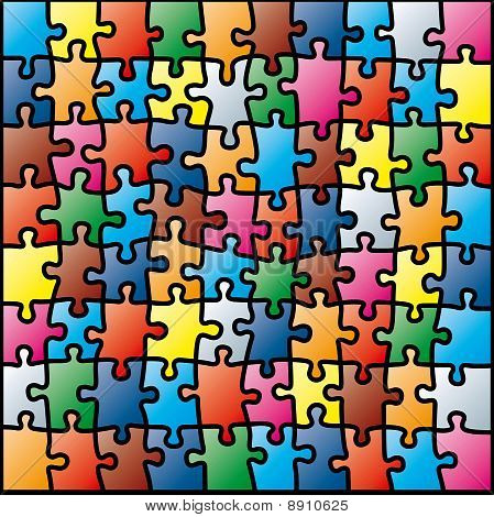Jigsaw Puzzle Colorful Pattern (vector Illustration)