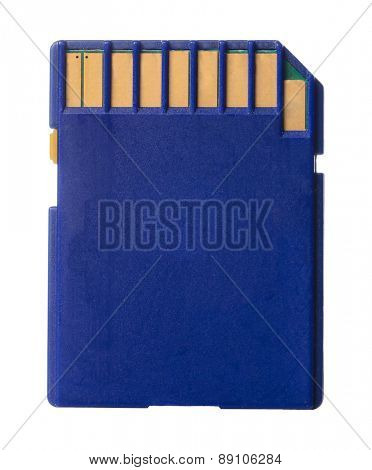 blue memory card isolated on white