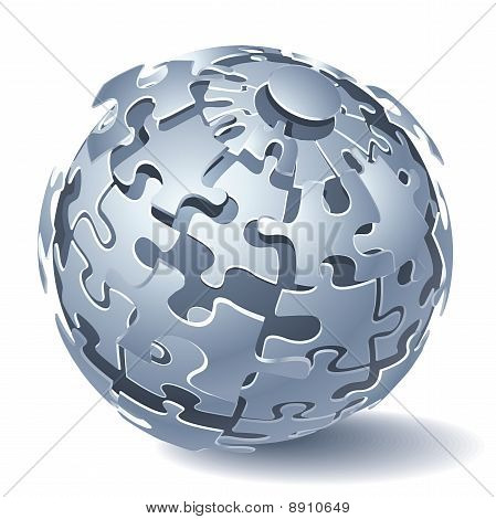 Puzzle quebra-cabeça esfera. Explosão dinâmica. Ilustração vetorial
