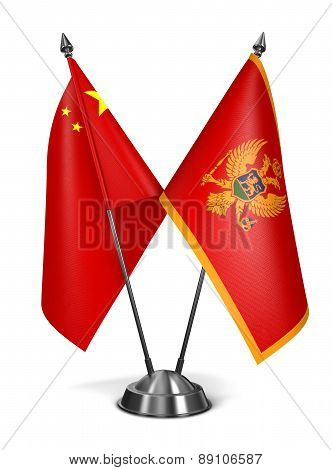 China and Montenegro - Miniature Flags.