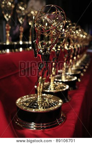 BURBANK - APR 26: Emmy Statues at the 42nd Daytime Emmy Awards Gala at Warner Bros. Studio on April 26, 2015 in Burbank, California