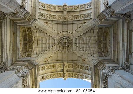 Arco Da Rua Augusta. Rua Augusta Triumphal Arch. Lisbon, Portugal.