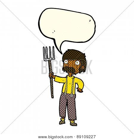 cartoon farmer with pitchfork with speech bubble