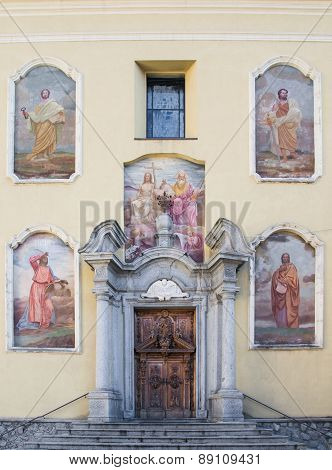 Church Facade In Ponte Di Legno, Italy