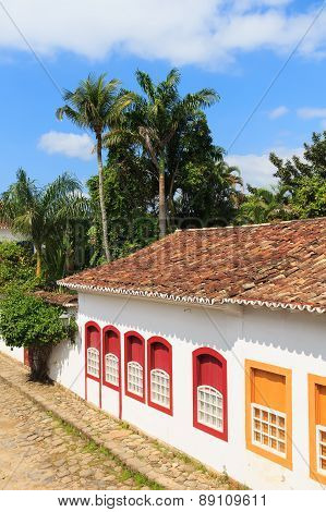 Old Portuguese Colonial Houses In Downtown Of Paraty, Brazil
