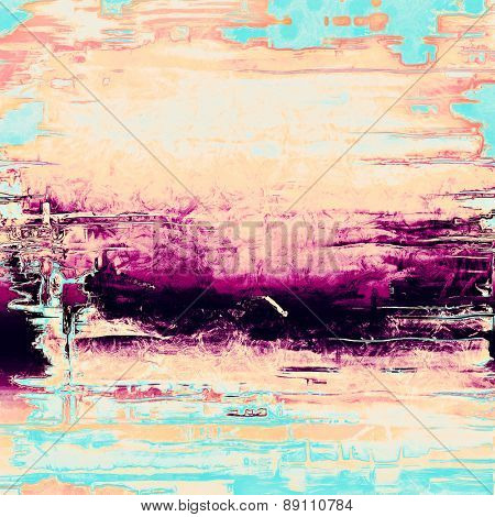 Grunge background with vintage and retro design elements. With different color patterns: black; purple (violet); blue; pink