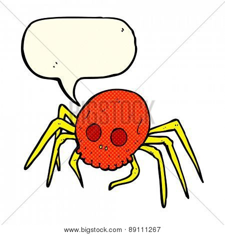 cartoon spooky halloween skull spider with speech bubble