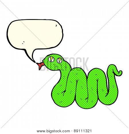 funny cartoon snake with speech bubble