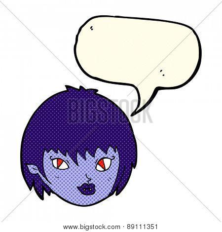 cartoon vampire girl face with speech bubble