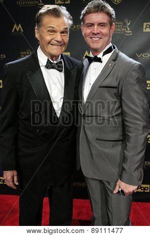 BURBANK - APR 26: Fred Willard, Harlan Boll at the 42nd Daytime Emmy Awards Gala at Warner Bros. Studio on April 26, 2015 in Burbank, California