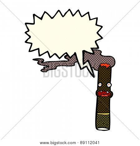 cartoon cigar with speech bubble