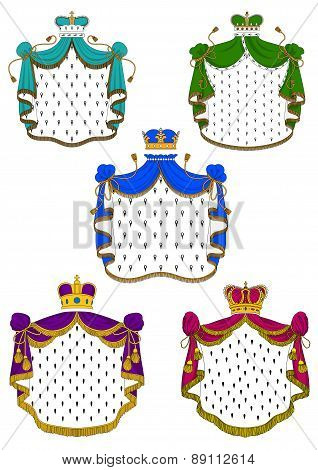 Colorful ceremonial royal mantles and crowns