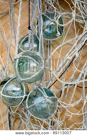 Glass fishing floats with fishing nets