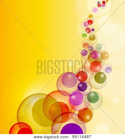 Abstract colorful bubbles stream background with copy space.
