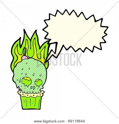 cartoon spooky skull cupcake with speech bubble
