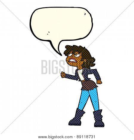 cartoon angry biker girl with speech bubble