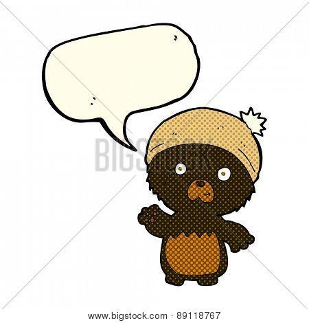 cartoon cute teddy bear in hat with speech bubble