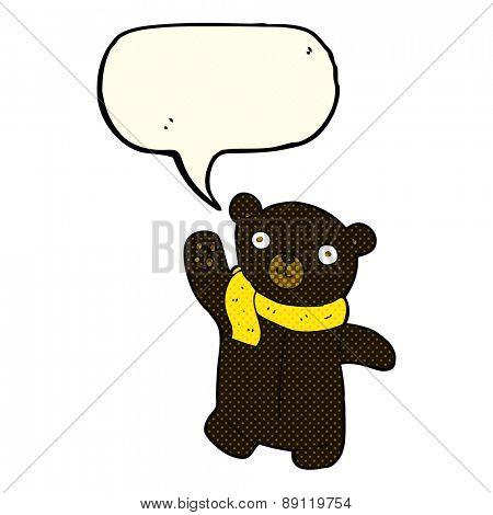 cute cartoon black teddy bear with speech bubble