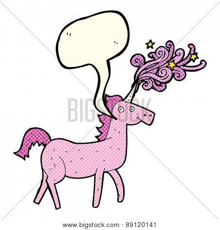 cartoon magical unicorn with speech bubble