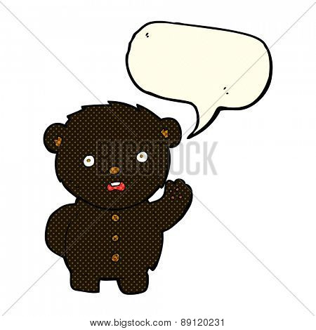 cartoon unhappy black teddy bear with speech bubble